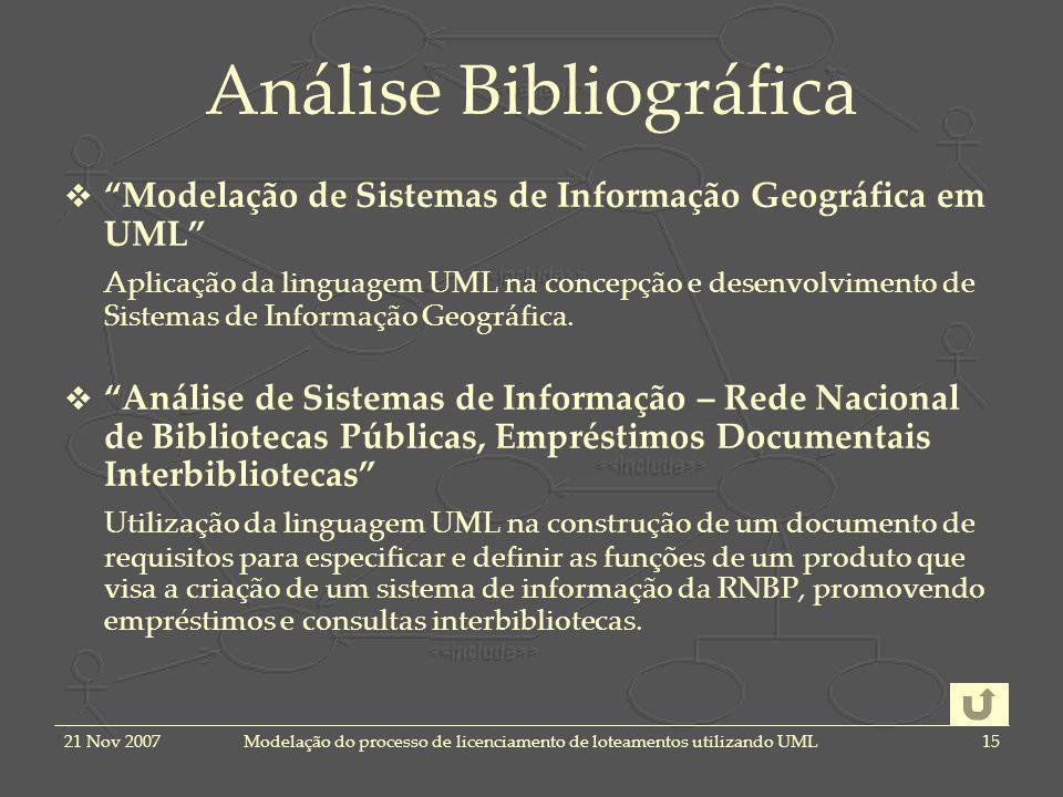 21 Nov 2007Modelação do processo de licenciamento de loteamentos utilizando UML15 Análise Bibliográfica Modelação de Sistemas de Informação Geográfica em UML Aplicação da linguagem UML na concepção e desenvolvimento de Sistemas de Informação Geográfica.