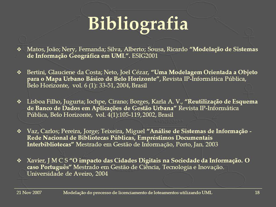 21 Nov 2007Modelação do processo de licenciamento de loteamentos utilizando UML18 Bibliografia Matos, João; Nery, Fernanda; Silva, Alberto; Sousa, Ric