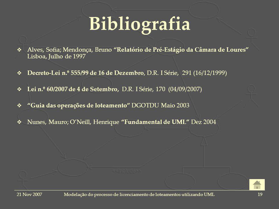 21 Nov 2007Modelação do processo de licenciamento de loteamentos utilizando UML19 Bibliografia Alves, Sofia; Mendonça, Bruno Relatório de Pré-Estágio da Câmara de Loures Lisboa, Julho de 1997 Decreto-Lei n.º 555/99 de 16 de Dezembro, D.R.