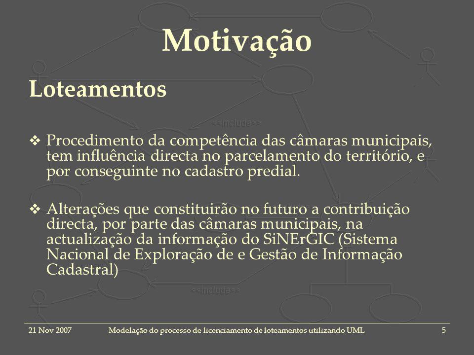 21 Nov 2007Modelação do processo de licenciamento de loteamentos utilizando UML5 Motivação Loteamentos Procedimento da competência das câmaras municip