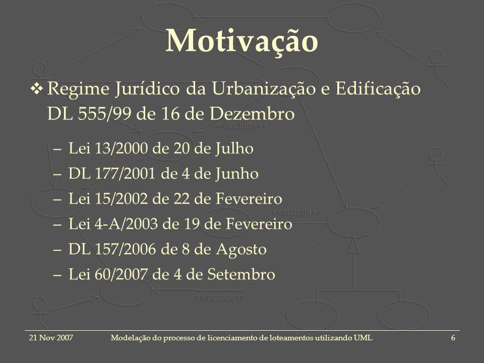 21 Nov 2007Modelação do processo de licenciamento de loteamentos utilizando UML6 Motivação Regime Jurídico da Urbanização e Edificação DL 555/99 de 16