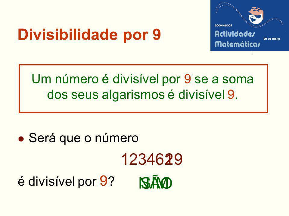 Divisibilidade por 9 Será que o número 12346 9 é divisível por 9 ? Um número é divisível por 9 se a soma dos seus algarismos é divisível 9. NÃO 21 SIM