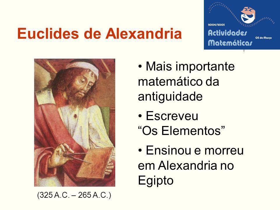 Euclides de Alexandria (325 A.C. – 265 A.C.) Mais importante matemático da antiguidade Escreveu Os Elementos Ensinou e morreu em Alexandria no Egipto