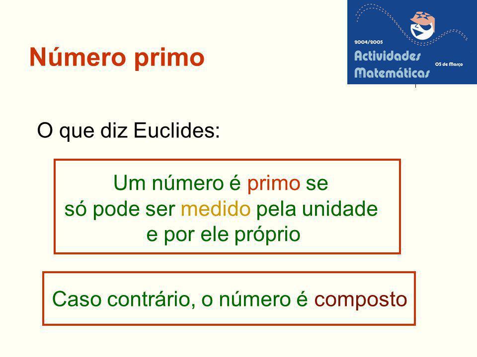 Número primo O que diz Euclides: Um número é primo se só pode ser medido pela unidade e por ele próprio Caso contrário, o número é composto