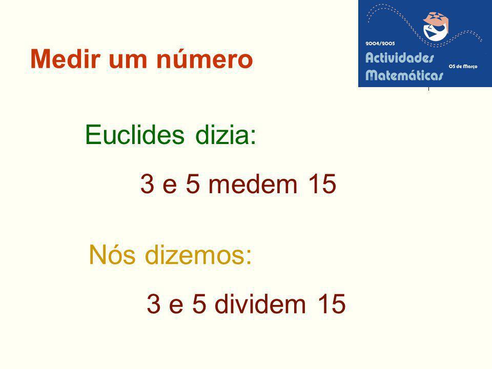 Medir um número Euclides dizia: 3 e 5 medem 15 Nós dizemos: 3 e 5 dividem 15