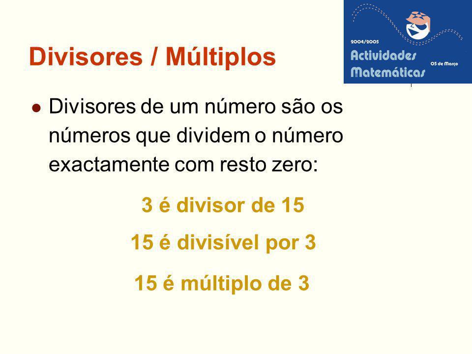 Divisores / Múltiplos Divisores de um número são os números que dividem o número exactamente com resto zero: 3 é divisor de 15 15 é divisível por 3 15
