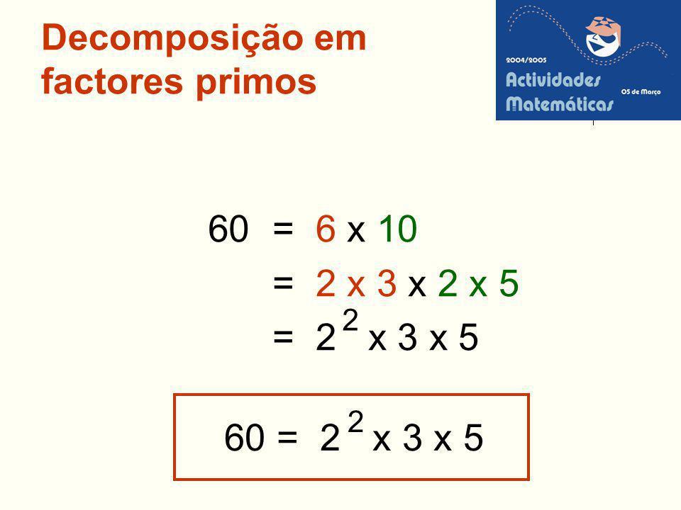 Decomposição em factores primos = 6 x 10 = 2 x 3 x 2 x 5 = 2 x 3 x 5 2 60 60 = 2 x 3 x 5 2
