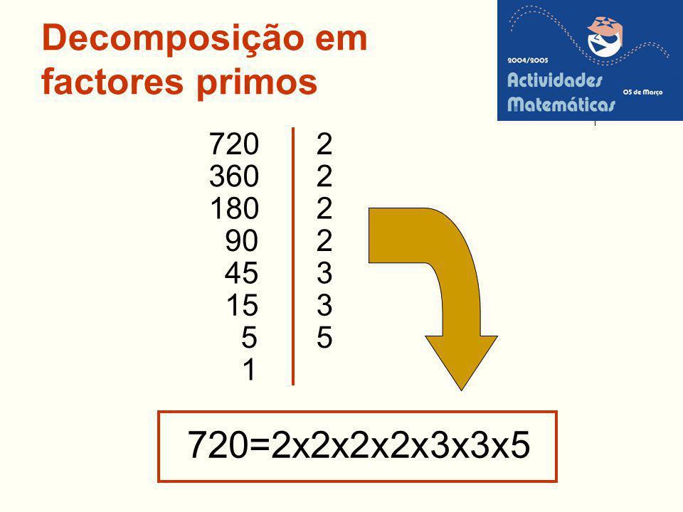 Decomposição em factores primos 720=2x2x2x2x3x3x5 90 180 360 2720 45 15 5 1 2 2 2 3 3 5