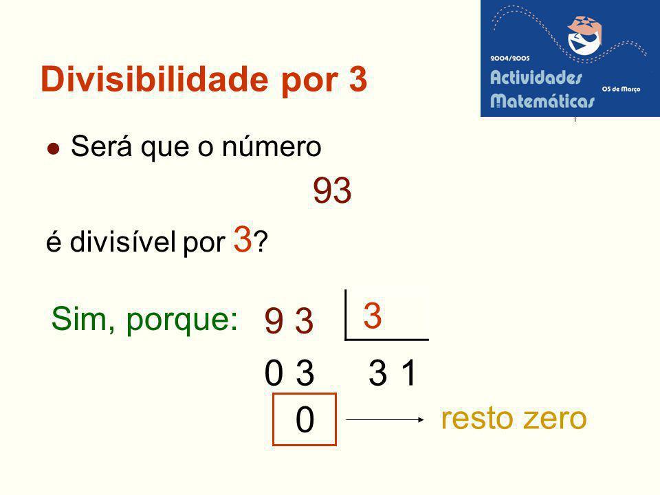 Divisibilidade por 3 Será que o número 93 é divisível por 3 ? 3 9 3 3031 0 Sim, porque: resto zero