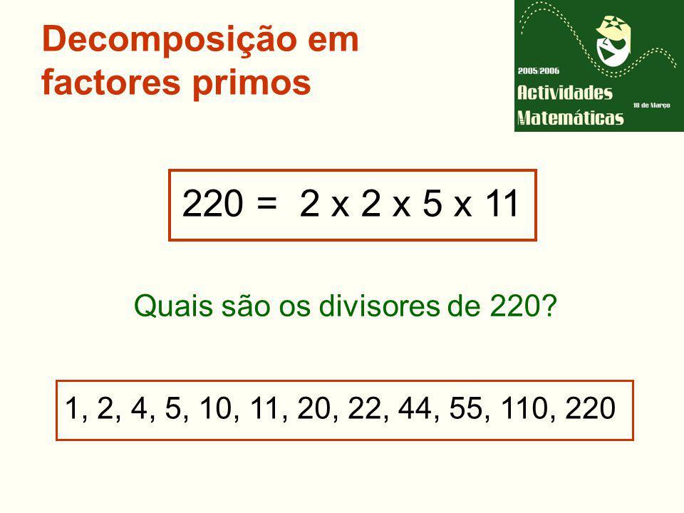 Decomposição em factores primos 220 = 2 x 2 x 5 x 11 1, 2, 4, 5, 10, 11, 20, 22, 44, 55, 110, 220 Quais são os divisores de 220?