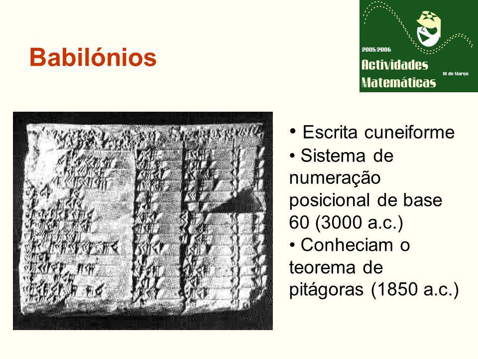 Babilónios Escrita cuneiforme Sistema de numeração posicional de base 60 (3000 a.c.) Conheciam o teorema de pitágoras (1850 a.c.)