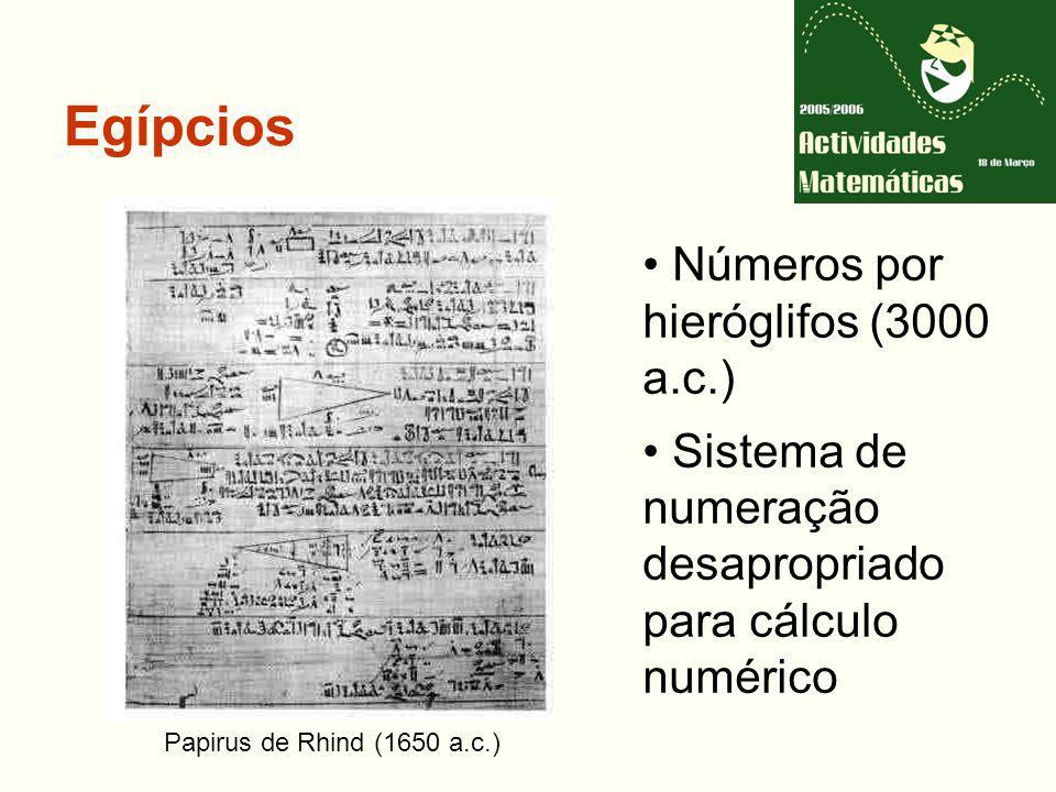 Egípcios Números por hieróglifos (3000 a.c.) Sistema de numeração desapropriado para cálculo numérico Papirus de Rhind (1650 a.c.)