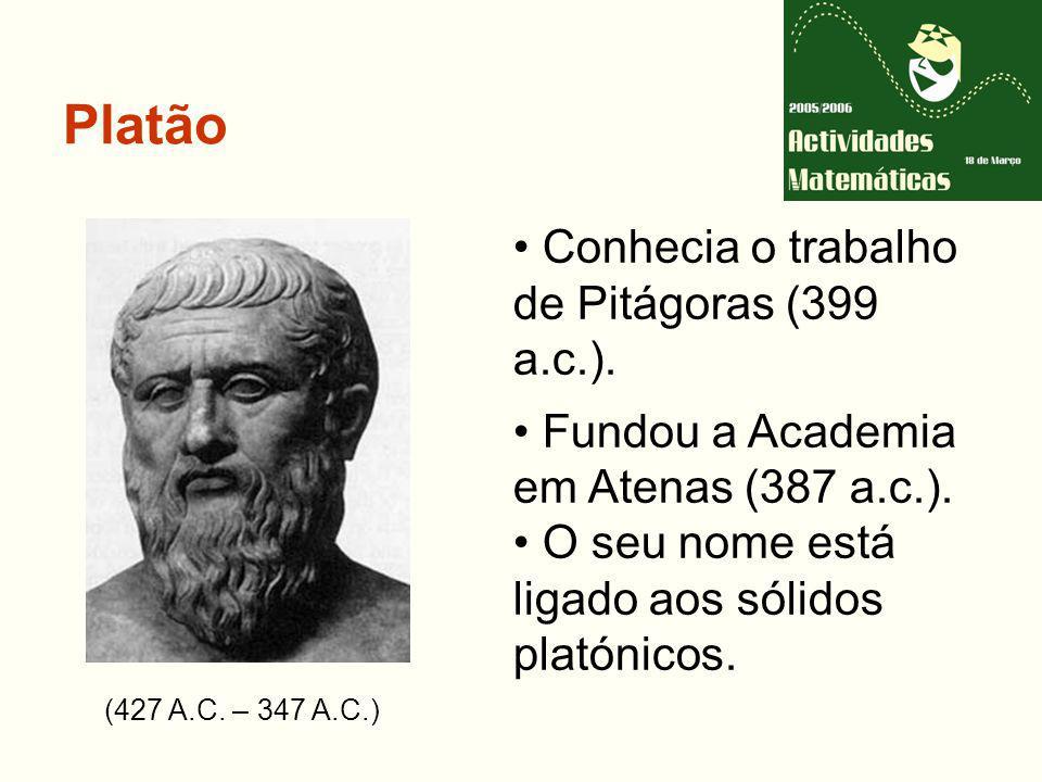 Platão (427 A.C.– 347 A.C.) Conhecia o trabalho de Pitágoras (399 a.c.).