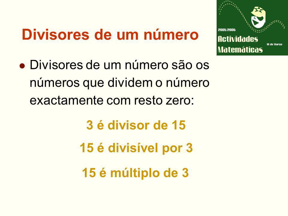 Divisores de um número Divisores de um número são os números que dividem o número exactamente com resto zero: 3 é divisor de 15 15 é divisível por 3 15 é múltiplo de 3