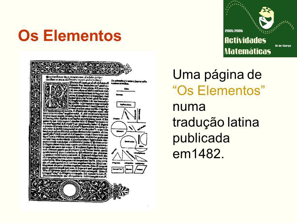 Os Elementos Uma página de Os Elementos numa tradução latina publicada em1482.
