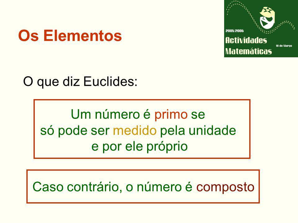 Os Elementos O que diz Euclides: Um número é primo se só pode ser medido pela unidade e por ele próprio Caso contrário, o número é composto