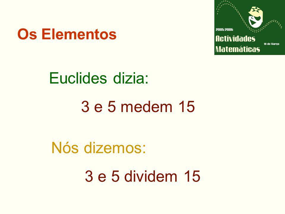 Os Elementos Euclides dizia: 3 e 5 medem 15 Nós dizemos: 3 e 5 dividem 15