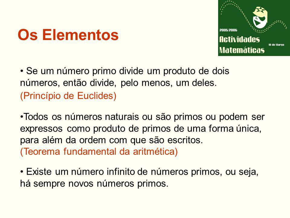 Os Elementos Se um número primo divide um produto de dois números, então divide, pelo menos, um deles.