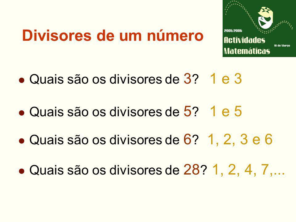 Número primo Um número é primo se só tem dois divisores: a unidade e ele próprio Caso contrário, o número é composto