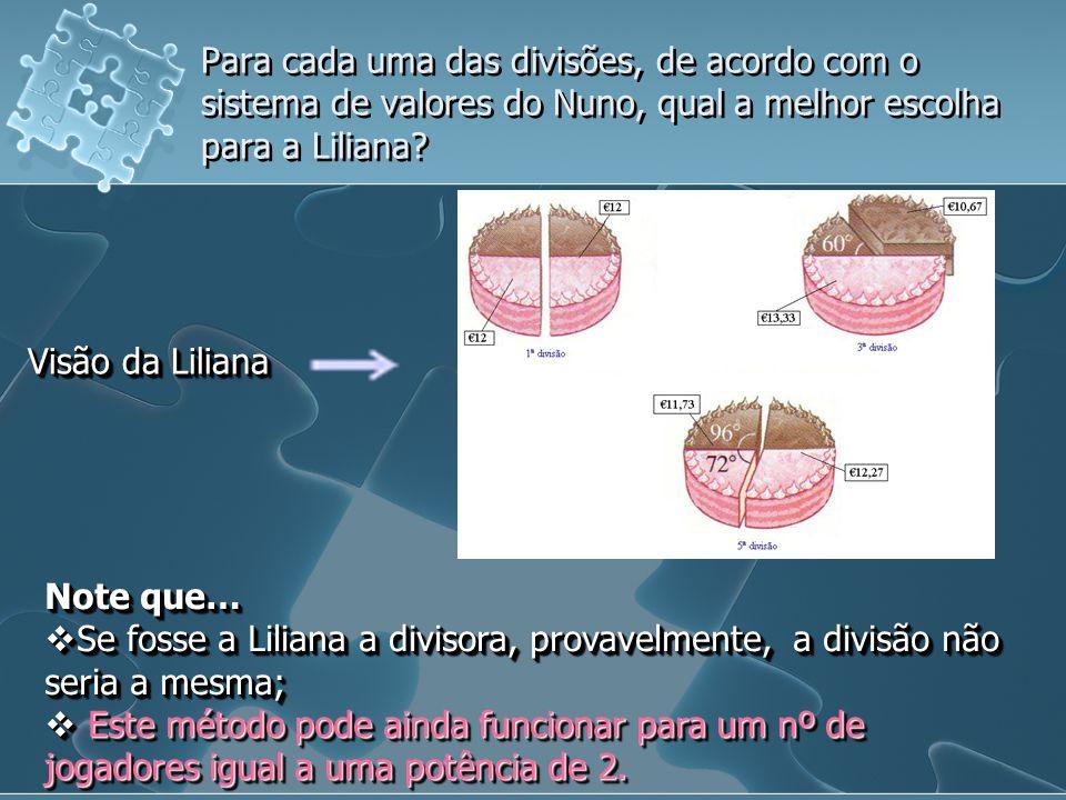 Para cada uma das divisões, de acordo com o sistema de valores do Nuno, qual a melhor escolha para a Liliana? Visão da Liliana Note que… Se fosse a Li