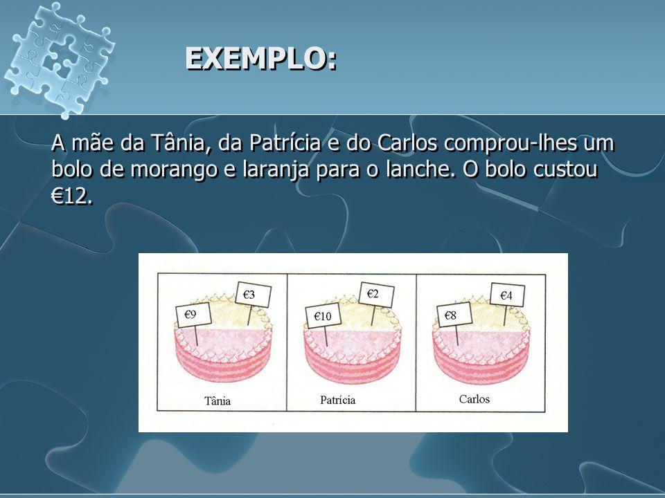 EXEMPLO: A mãe da Tânia, da Patrícia e do Carlos comprou-lhes um bolo de morango e laranja para o lanche. O bolo custou 12.