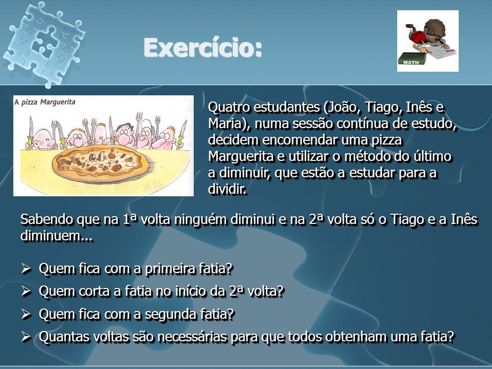 Exercício: Quatro estudantes (João, Tiago, Inês e Maria), numa sessão contínua de estudo, decidem encomendar uma pizza Marguerita e utilizar o método