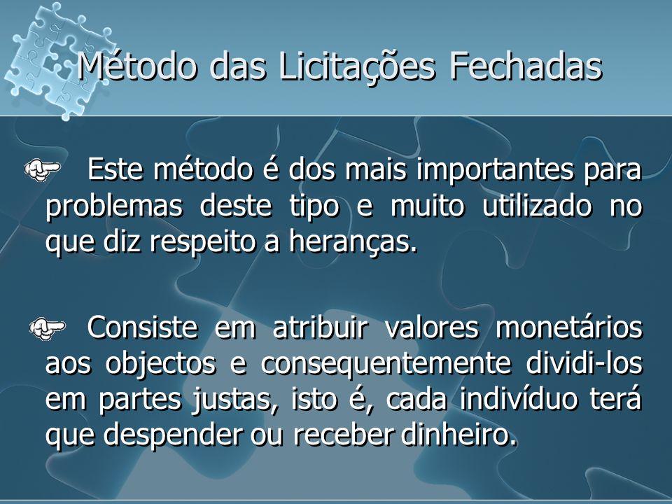 Método das Licitações Fechadas Este método é dos mais importantes para problemas deste tipo e muito utilizado no que diz respeito a heranças. Consiste