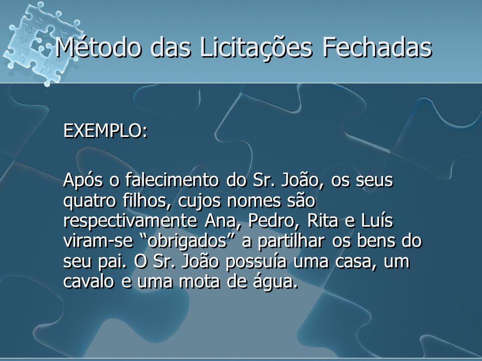 EXEMPLO: Após o falecimento do Sr. João, os seus quatro filhos, cujos nomes são respectivamente Ana, Pedro, Rita e Luís viram-se obrigados a partilhar