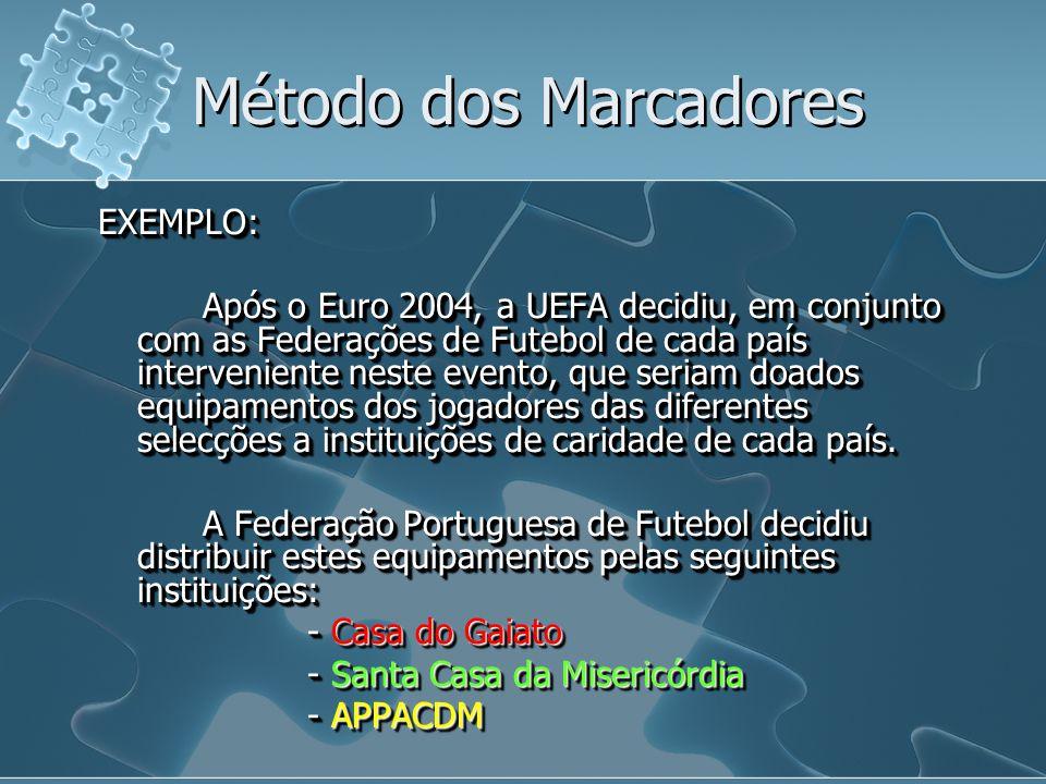 EXEMPLO: Após o Euro 2004, a UEFA decidiu, em conjunto com as Federações de Futebol de cada país interveniente neste evento, que seriam doados equipam