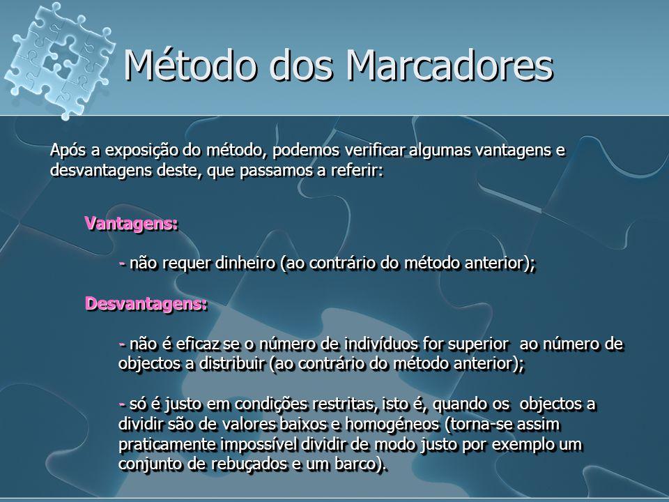 Após a exposição do método, podemos verificar algumas vantagens e desvantagens deste, que passamos a referir: Método dos Marcadores Vantagens: - não r