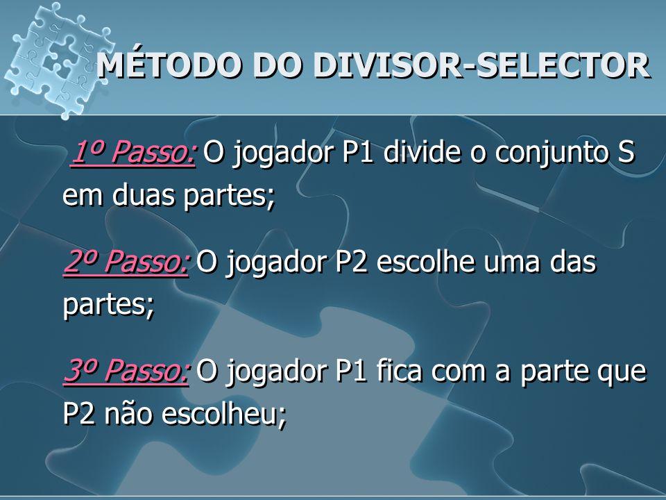MÉTODO DO DIVISOR-SELECTOR 1º Passo: O jogador P1 divide o conjunto S em duas partes; 2º Passo: O jogador P2 escolhe uma das partes; 3º Passo: O jogad