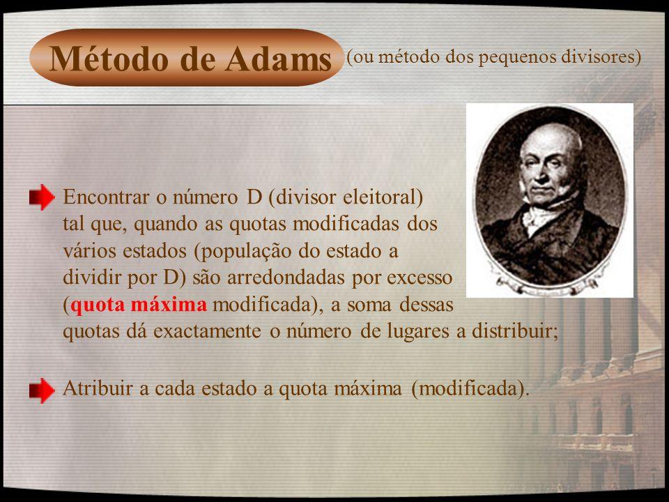 Método de Adams Encontrar o número D (divisor eleitoral) tal que, quando as quotas modificadas dos vários estados (população do estado a dividir por D