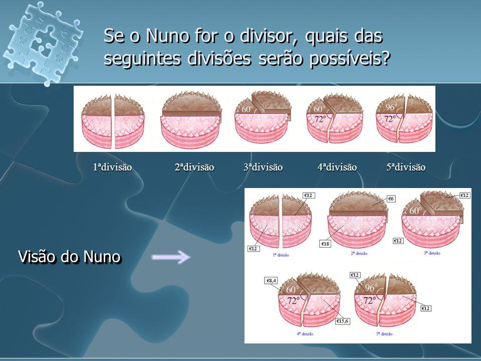 Se o Nuno for o divisor, quais das seguintes divisões serão possíveis? 1ªdivisão 2ªdivisão 3ªdivisão 4ªdivisão 5ªdivisão Visão do Nuno