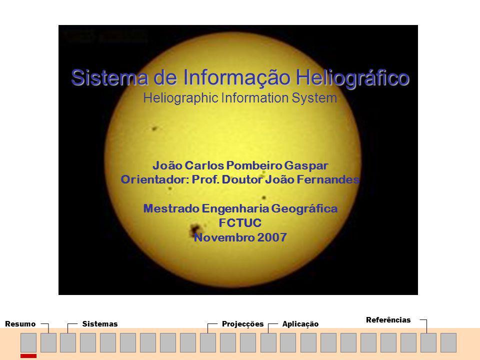 ResumoSistemasProjecçõesAplicação Referências João Carlos Pombeiro Gaspar Orientador: Prof. Doutor João Fernandes Mestrado Engenharia Geográfica FCTUC