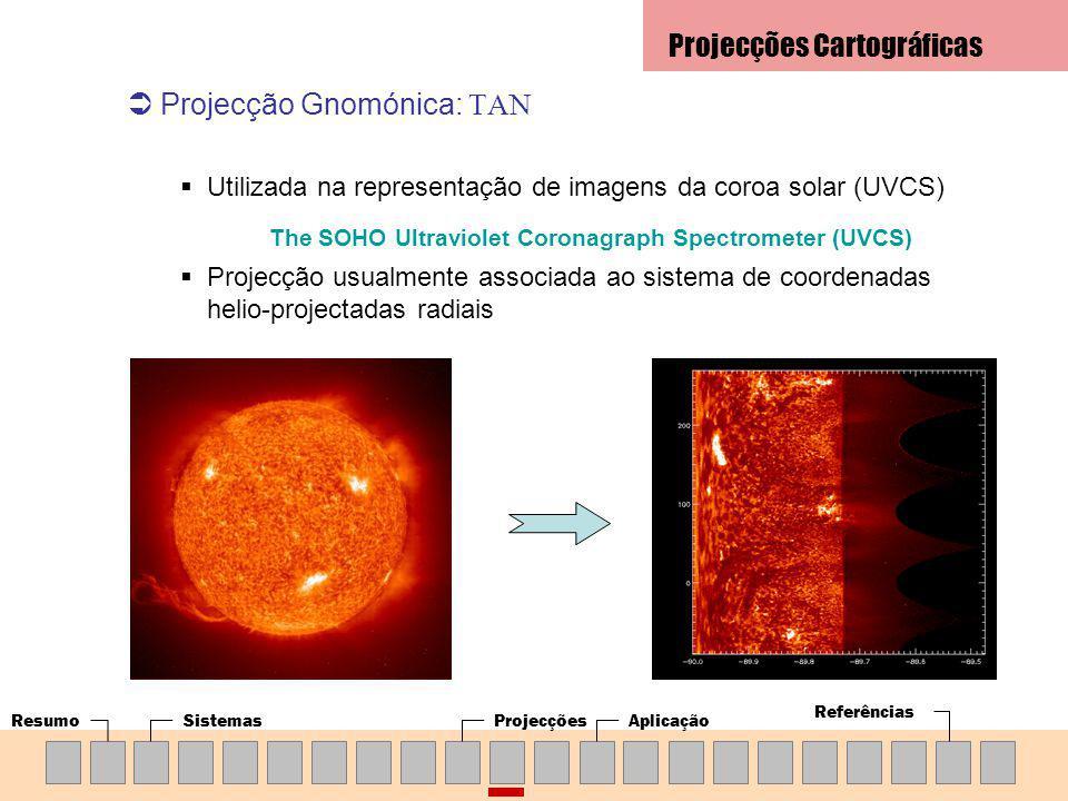 ResumoSistemasProjecçõesAplicação Referências Projecção Gnomónica: TAN Utilizada na representação de imagens da coroa solar (UVCS) The SOHO Ultraviolet Coronagraph Spectrometer (UVCS) Projecção usualmente associada ao sistema de coordenadas helio-projectadas radiais Projecções Cartográficas