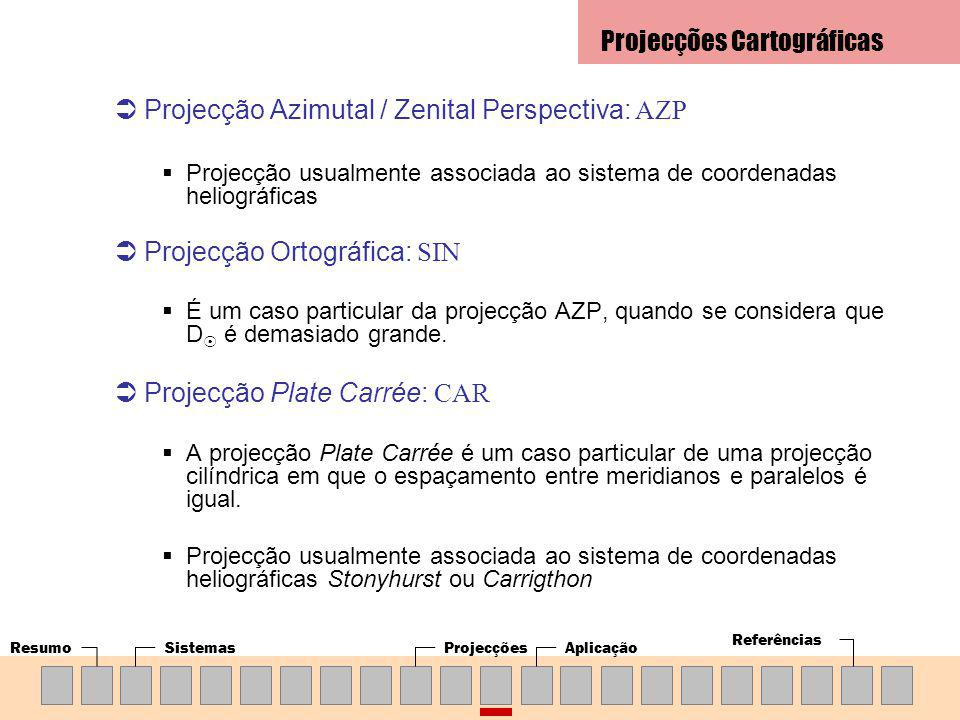 ResumoSistemasProjecçõesAplicação Referências Projecção Azimutal / Zenital Perspectiva: AZP Projecção usualmente associada ao sistema de coordenadas heliográficas Projecção Ortográfica: SIN É um caso particular da projecção AZP, quando se considera que D é demasiado grande.
