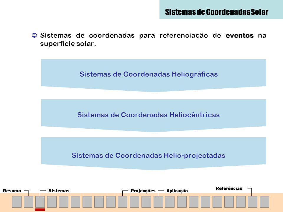 SistemasProjecçõesAplicação Referências eventos Sistemas de coordenadas para referenciação de eventos na superfície solar. Sistemas de Coordenadas Hel