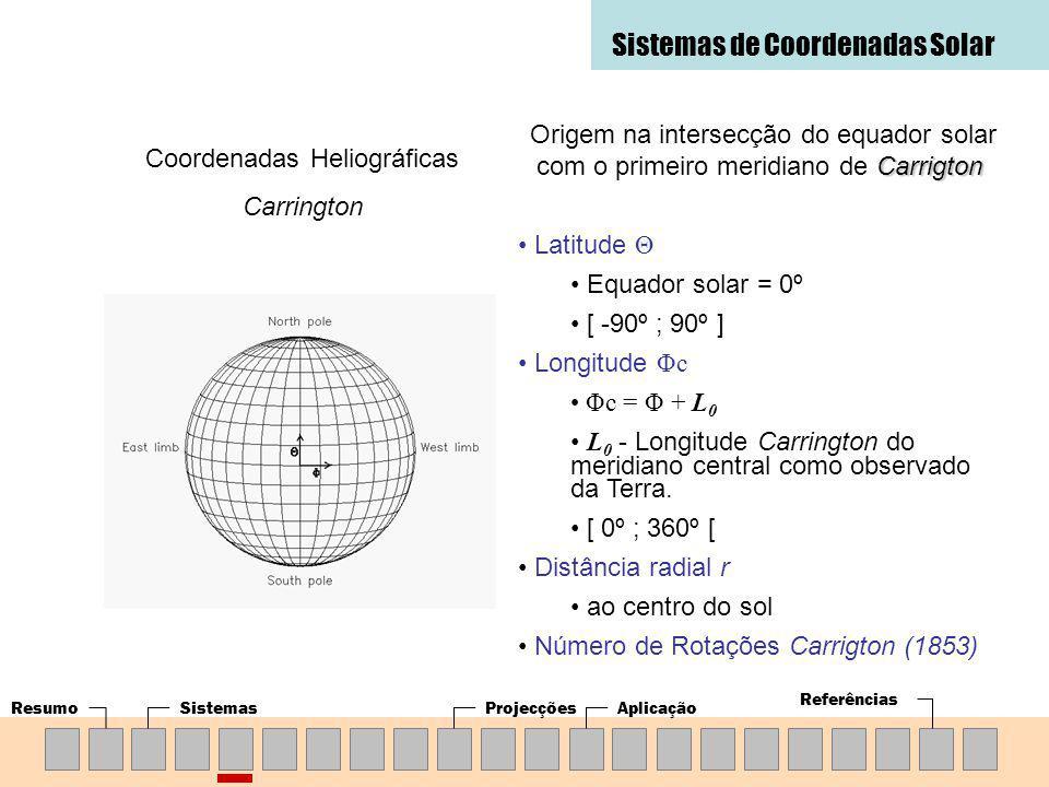ResumoSistemasProjecçõesAplicação Referências Sistemas de Coordenadas Solar Coordenadas Heliográficas Carrington Carrigton Origem na intersecção do equador solar com o primeiro meridiano de Carrigton Latitude Θ Equador solar = 0º [ -90º ; 90º ] Longitude Φc Φc = Φ + L 0 L 0 - Longitude Carrington do meridiano central como observado da Terra.