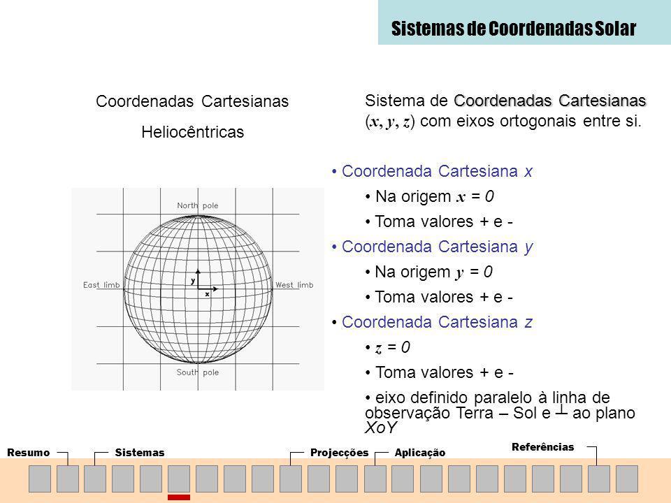 ResumoSistemasProjecçõesAplicação Referências Sistemas de Coordenadas Solar Coordenadas Cartesianas Heliocêntricas Coordenadas Cartesianas Sistema de Coordenadas Cartesianas ( x, y, z ) com eixos ortogonais entre si.