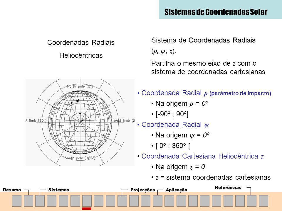 ResumoSistemasProjecçõesAplicação Referências Sistemas de Coordenadas Solar Coordenadas Radiais Heliocêntricas Coordenadas Radiais Sistema de Coordenadas Radiais ( ρ, ψ, z ).
