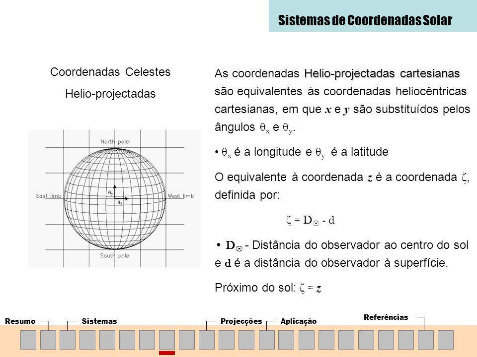 ResumoSistemasProjecçõesAplicação Referências Sistemas de Coordenadas Solar Coordenadas Celestes Helio-projectadas Helio-projectadas cartesianas As coordenadas Helio-projectadas cartesianas são equivalentes às coordenadas heliocêntricas cartesianas, em que x e y são substituídos pelos ângulos θ x e θ y.