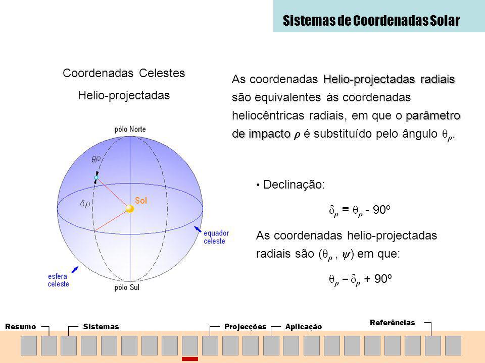 ResumoSistemasProjecçõesAplicação Referências Sistemas de Coordenadas Solar Coordenadas Celestes Helio-projectadas Helio-projectadas radiais parâmetro de impacto As coordenadas Helio-projectadas radiais são equivalentes às coordenadas heliocêntricas radiais, em que o parâmetro de impacto ρ é substituído pelo ângulo θ ρ.