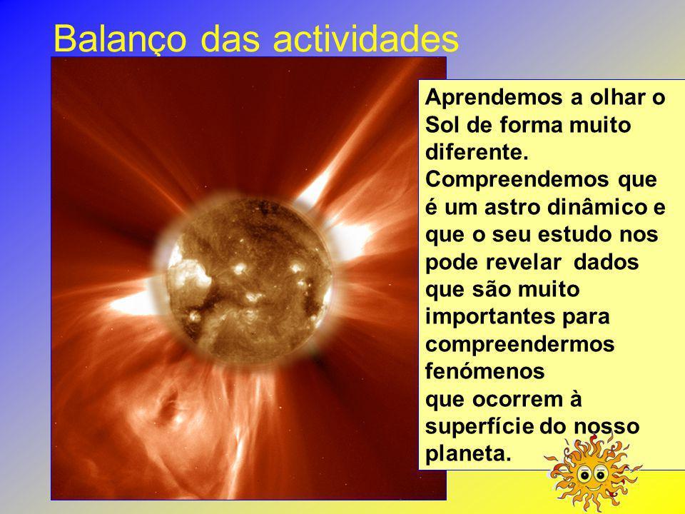 Balanço das actividades Aprendemos a olhar o Sol de forma muito diferente. Compreendemos que é um astro dinâmico e que o seu estudo nos pode revelar d