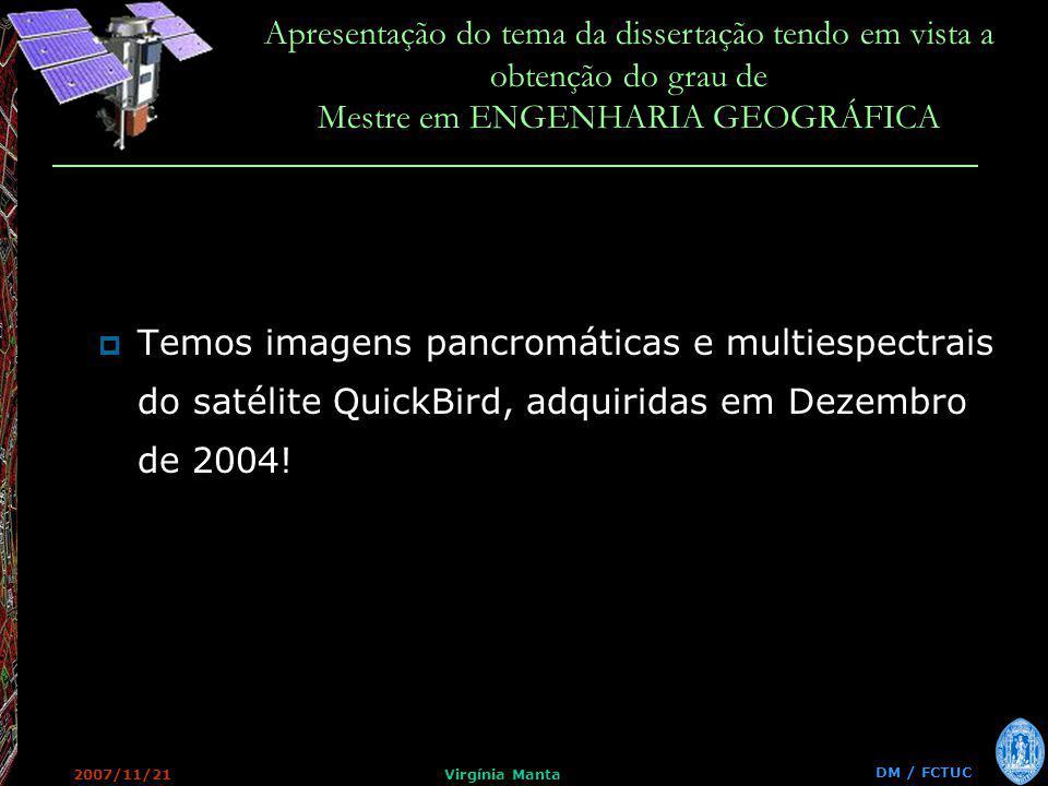 DM / FCTUC Apresentação do tema da dissertação tendo em vista a obtenção do grau de Mestre em ENGENHARIA GEOGRÁFICA 2007/11/21Virgínia Manta Temos imagens pancromáticas e multiespectrais do satélite QuickBird, adquiridas em Dezembro de 2004!