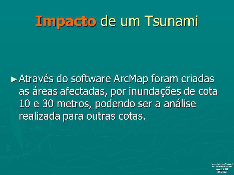 Impacto de um Tsunami Através do software ArcMap foram criadas as áreas afectadas, por inundações de cota 10 e 30 metros, podendo ser a análise realizada para outras cotas.