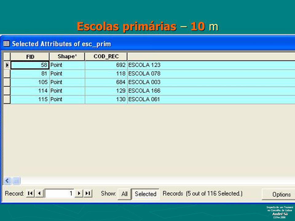 Escolas primárias – 10 m André Sá 13.Fev.2006 Impacto de um Tsunami no Concelho de Lisboa