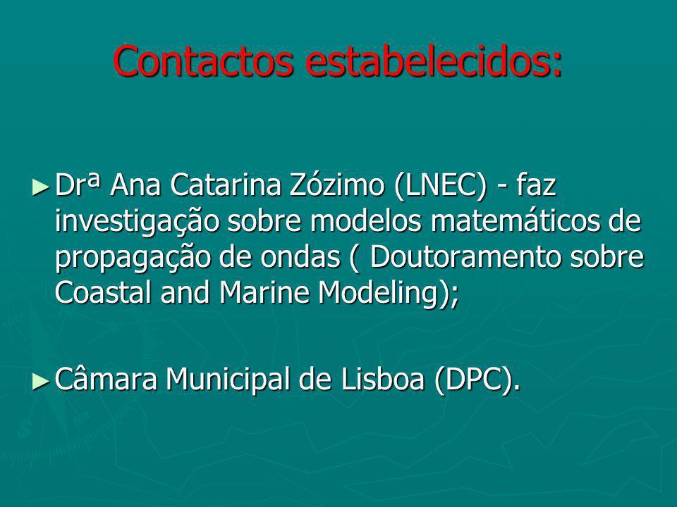 Contactos estabelecidos: Drª Ana Catarina Zózimo (LNEC) - faz investigação sobre modelos matemáticos de propagação de ondas ( Doutoramento sobre Coastal and Marine Modeling); Drª Ana Catarina Zózimo (LNEC) - faz investigação sobre modelos matemáticos de propagação de ondas ( Doutoramento sobre Coastal and Marine Modeling); Câmara Municipal de Lisboa (DPC).
