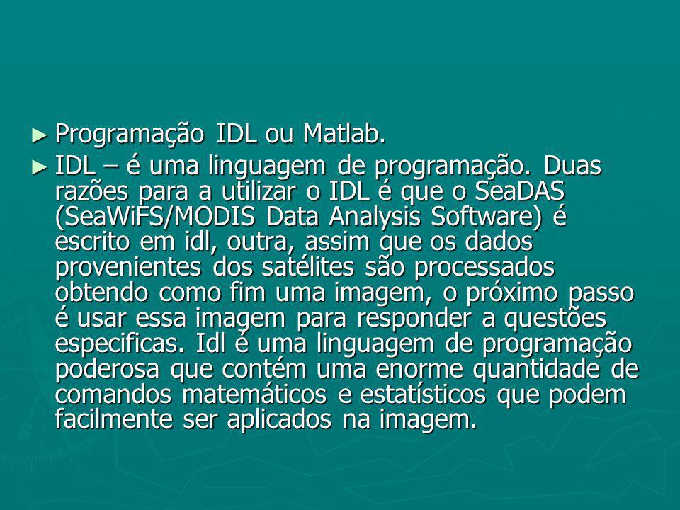 Programação IDL ou Matlab. Programação IDL ou Matlab. IDL – é uma linguagem de programação. Duas razões para a utilizar o IDL é que o SeaDAS (SeaWiFS/