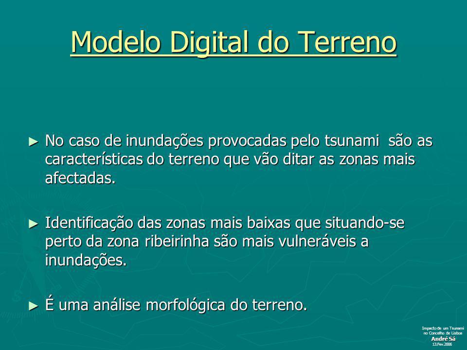 Modelo Digital do Terreno No caso de inundações provocadas pelo tsunami são as características do terreno que vão ditar as zonas mais afectadas.