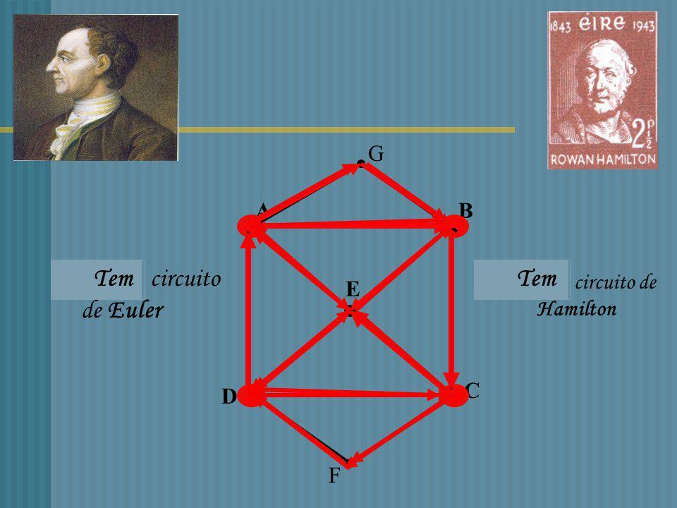 Circuito (caminho ) de Hamilton Percorre todos os Vértices de um grafo Sem repetir nenhum